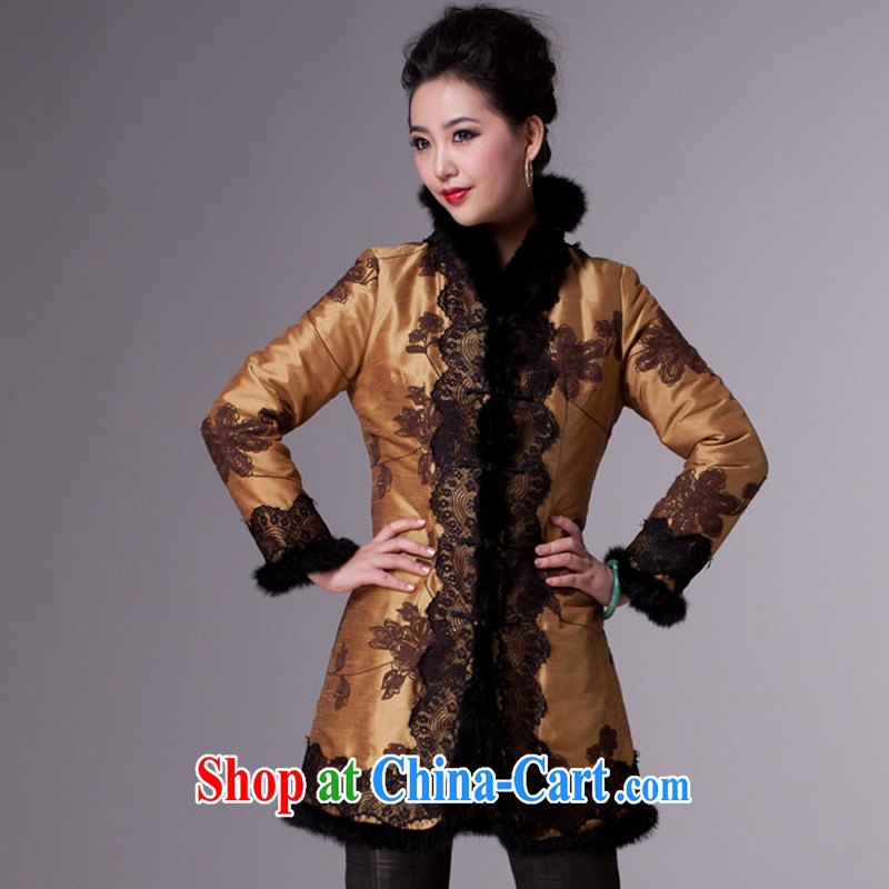 Cyd Ho Kwun Tong Hong Kong following dime Tang women winter clothes 2014 new mom quilted coat ethnic blouses jacket TM 3940 yellow XXXL