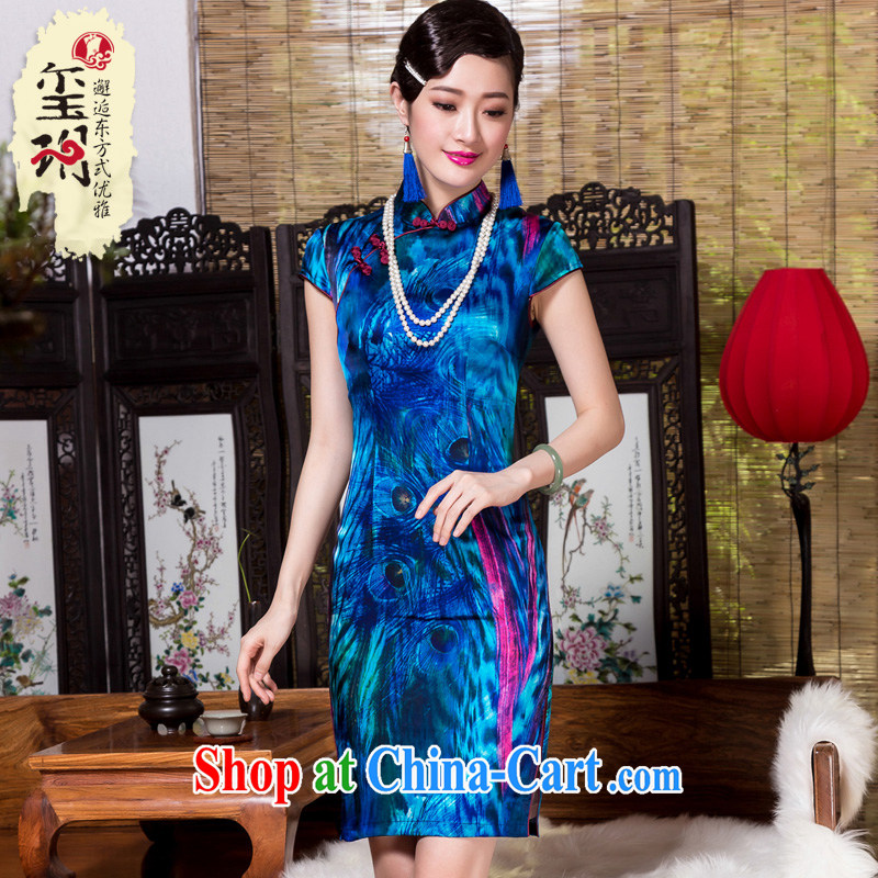 Yin Yue seal winter, heavy Silk Cheongsam stamp improved retro daily dos santos Ms. Silk Cheongsam dress blue XL