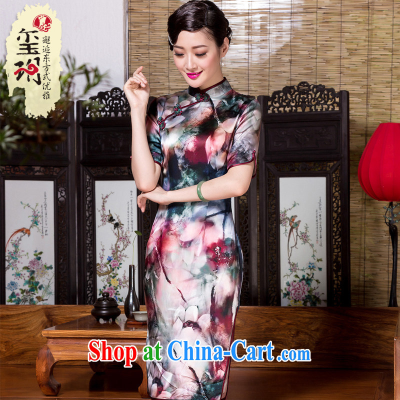 Yin Yue seal 2015 New Silk daily improved cheongsam name Yuan annual company banquet retro elegant qipao dress suit M
