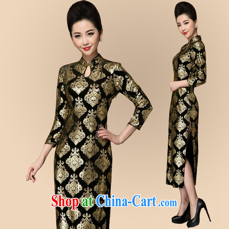 2014 fall and winter new women improved Stylish retro 7 cuff the forklift truck cheongsam dress Old Shanghai Korea wind cheongsam picture color XXXL