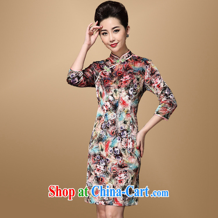 Autumn 2014, Tang women-improved stylish dresses wool stamp 7 cuffs mother load the code cheongsam XXXL picture color XXXL