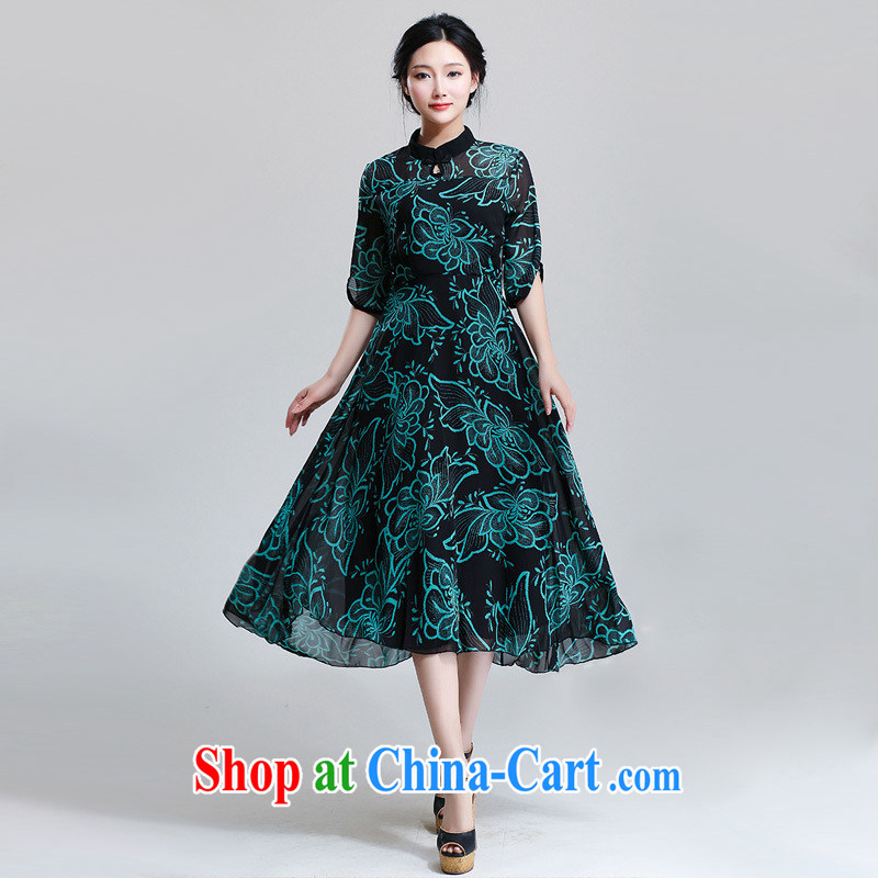 royal classic improved cheongsam stamp Classic beauty black bottom dark green flowers XL