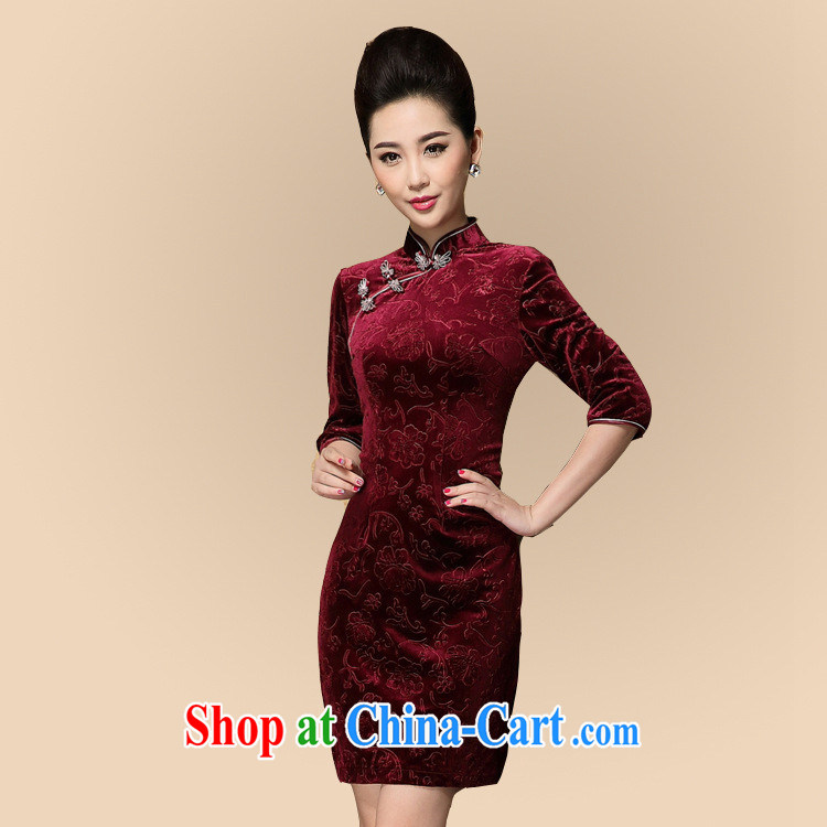 Factory outlets in stock fall and winter new cheongsam wholesale improved stylish retro ethnic wind cheongsam dress picture color XXXL