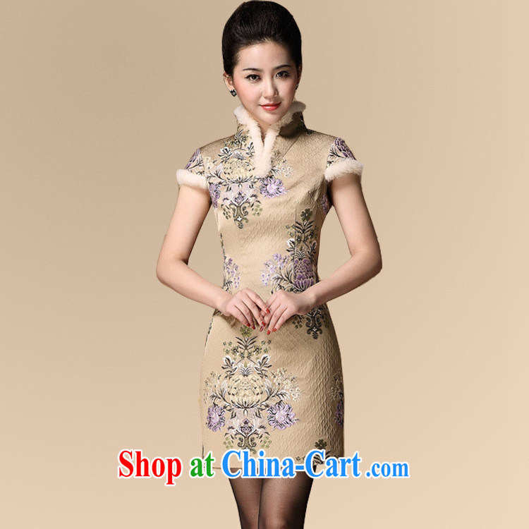 2014 fall and winter new Chinese qipao and cotton wholesale, long the code mother Chinese qipao improved stylish picture color XXL
