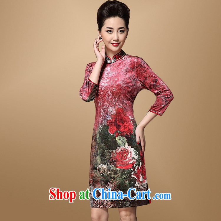 China wind Chinese female Korea Old Shanghai qipao improved fashion, older 40 - 60 years old her mother dresses the picture color XXXL