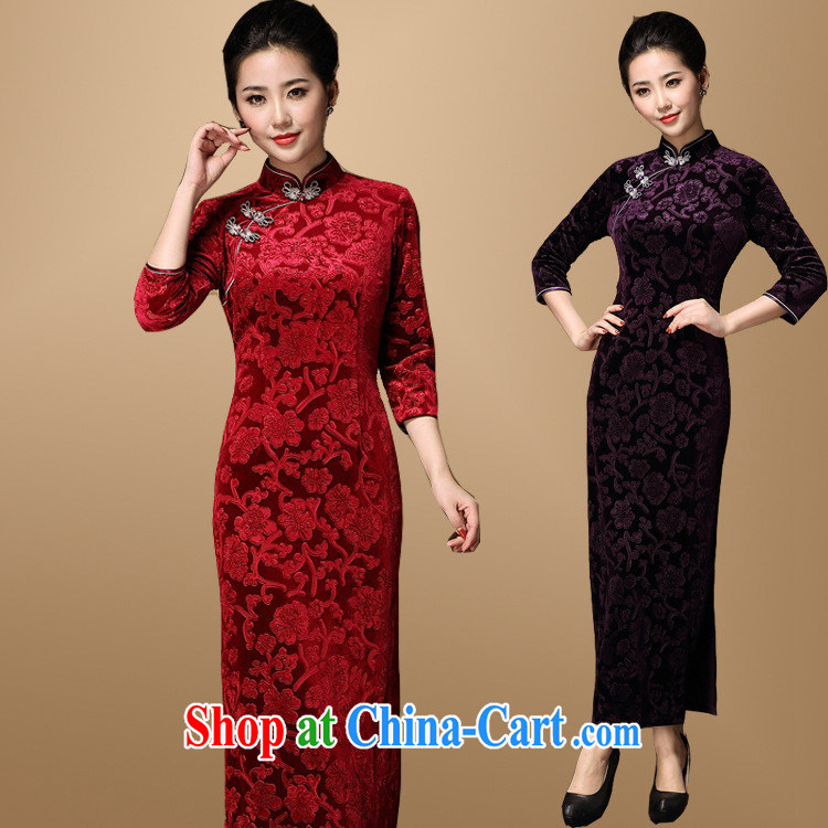 Chinese bride toast wedding dresses to the wedding MOM dresses with large yards, Retro ethnic wind cheongsam red XXXL