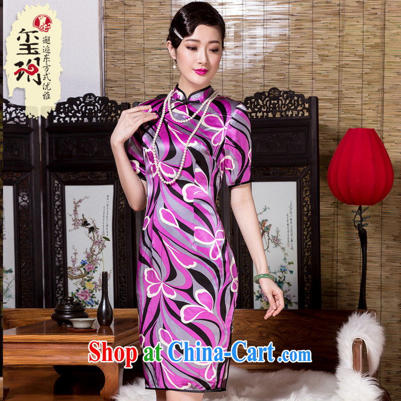 Yin Yue seal 2015 autumn heavy Silk Cheongsam elegant-retro improvement abstract cuff stamp cheongsam dress picture color XL
