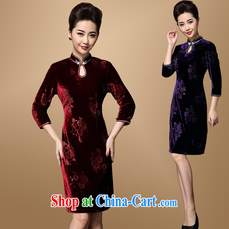 2014 new Chinese bridal dresses fall and winter wedding mom with retro ethnic wind women's clothing dresses wholesale agent purple pre-sale a moonrise the XXXL