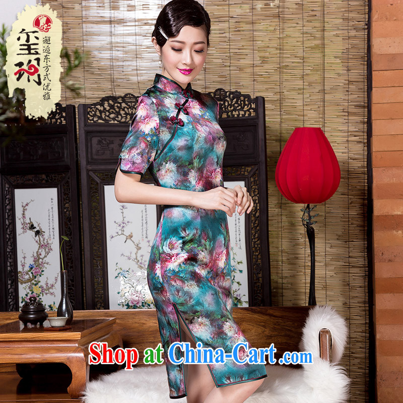 Yin Yue seal 2015 winter new heavy Silk Cheongsam banquet art stamp improved day-dresses, skirts picture color XL