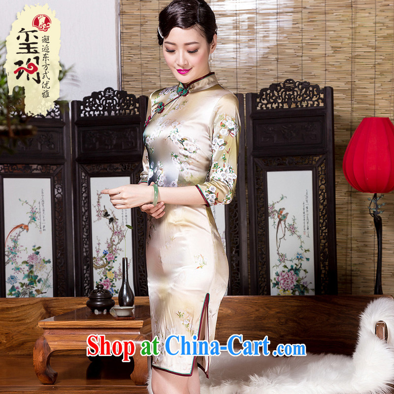Yin Yue seal 2015 autumn new cuff in heavy Silk Cheongsam 7 cuff improved temperament cheongsam dress picture color XXL pre-sale 20 days