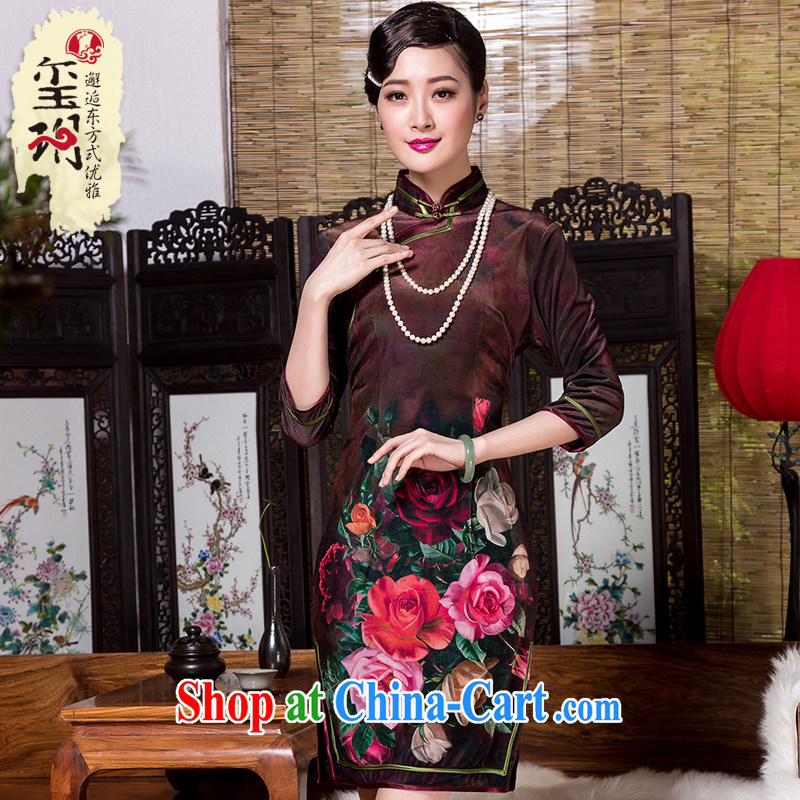Yin Yue seal 2015 autumn and winter new daily improved cheongsam annual really scouring pads the stamp antique cheongsam dress picture color XXXL