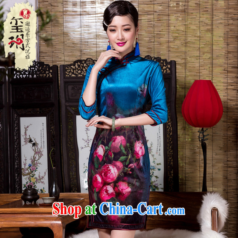 Yin Yue seal 2015 autumn and winter wool positioning flower cheongsam elegant high-end girls improved 7 cuff in a tight outfit picture color XXXL