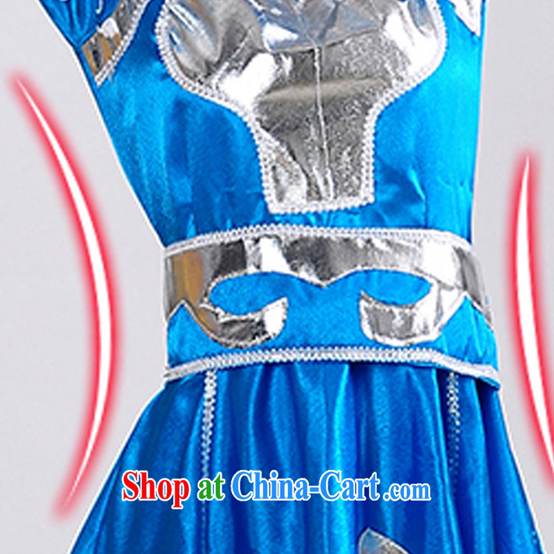 Dual 12 new special minority clothing Mongolian dress Mongolia Fashion Show clothing dancing girl stage costumes HXYM - 0023 blue 140, King coconut, shopping on the Internet