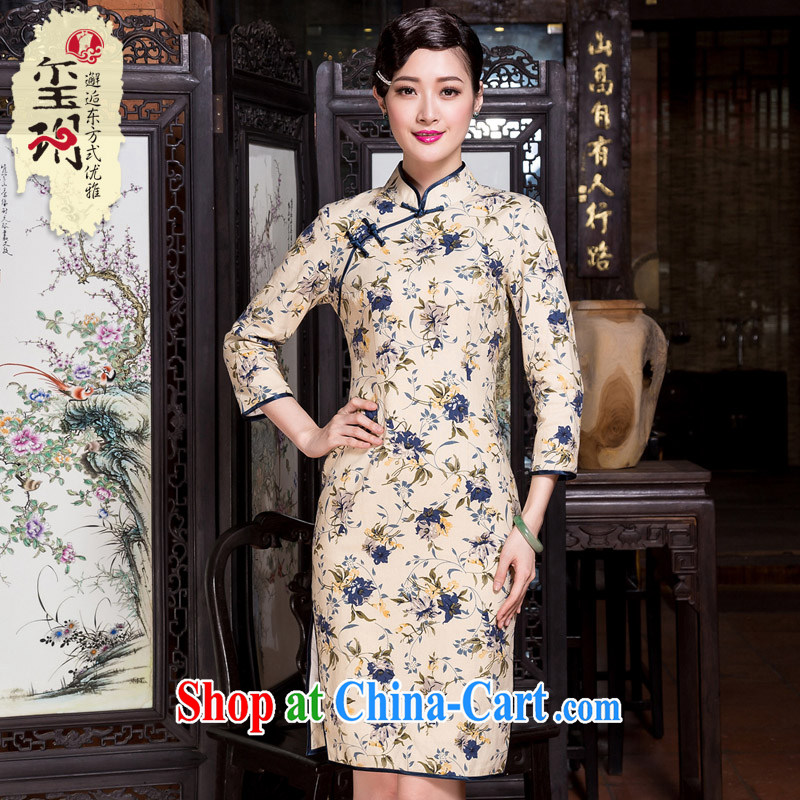 Yin Yue seal 2015 autumn and winter new cotton Ma literary and artistic floral cheongsam 7 cuff improved day-dresses, skirts picture color XXL