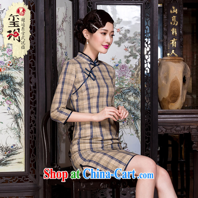 Yin Yue seal 2015 autumn and winter new cotton the cheongsam literary and art nouveau grid 7 cuff linen elegant qipao dress picture color S