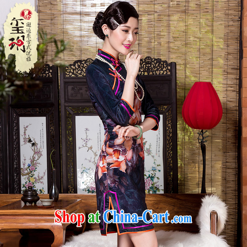 Yin Yue seal 2015 the Stamp Duty scouring pads, 7 cuff cuff a qipao double the elegant middle-aged cheongsam picture color XXXL seal, Yin Yue, shopping on the Internet