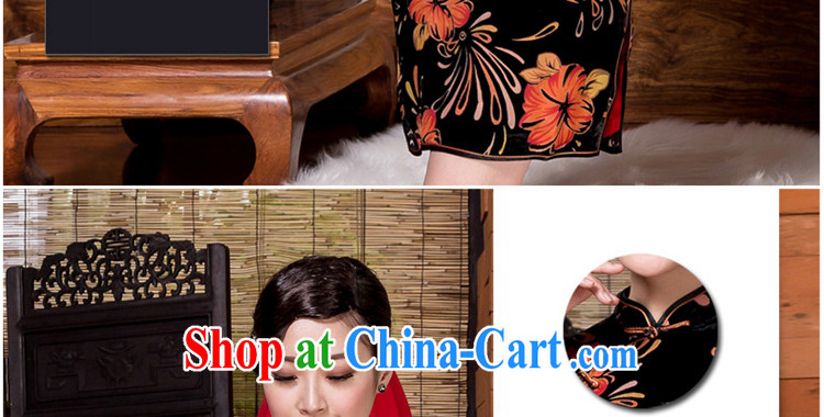 Yin Yue seal 2015 autumn and winter new retro Ethnic Wind 7 cuff cheongsam silk black flower lint-free cloth elegant improved daily picture color XXXL pictures, price, brand platters! Elections are good character, the national distribution, so why buy now enjoy more preferential! Health