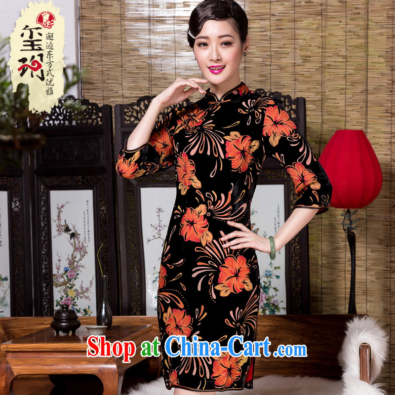 Yin Yue seal 2015 autumn and winter new retro Ethnic Wind 7 cuff cheongsam silk black flower lint-free cloth elegant improved daily picture color XXXL seal, Yin Yue, shopping on the Internet