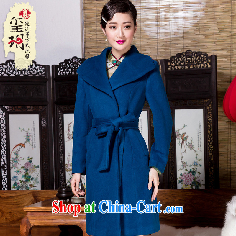 Royal Seal Yin Yue 2015 winter hair coat is elegant, with cultivating simple gross Ms.? With blue jacket M