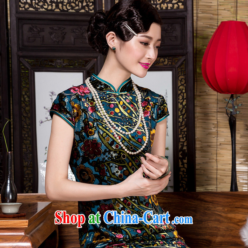 Yin Yue seal autumn 2015 new retro ethnic wind, qipao dress silk black flower lint-free cloth improved cheongsam dress picture color XXXL seal, Yin Yue, shopping on the Internet