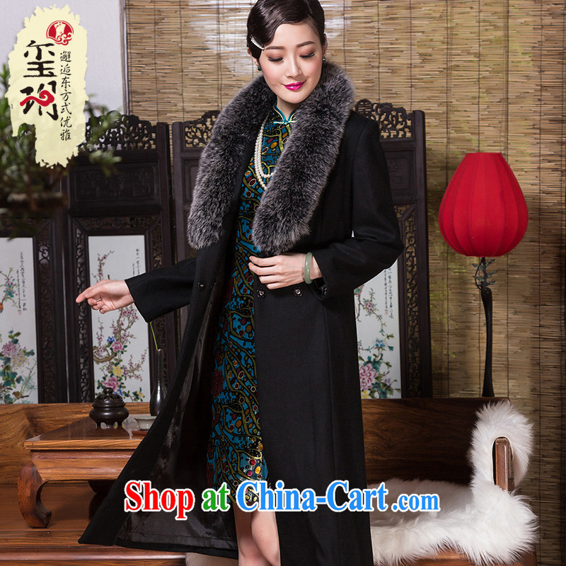 Royal Seal Yin Yue 2015 winter wool coat is luxurious Fox hair collar OL commuter sepia, long wind jacket coat black XL