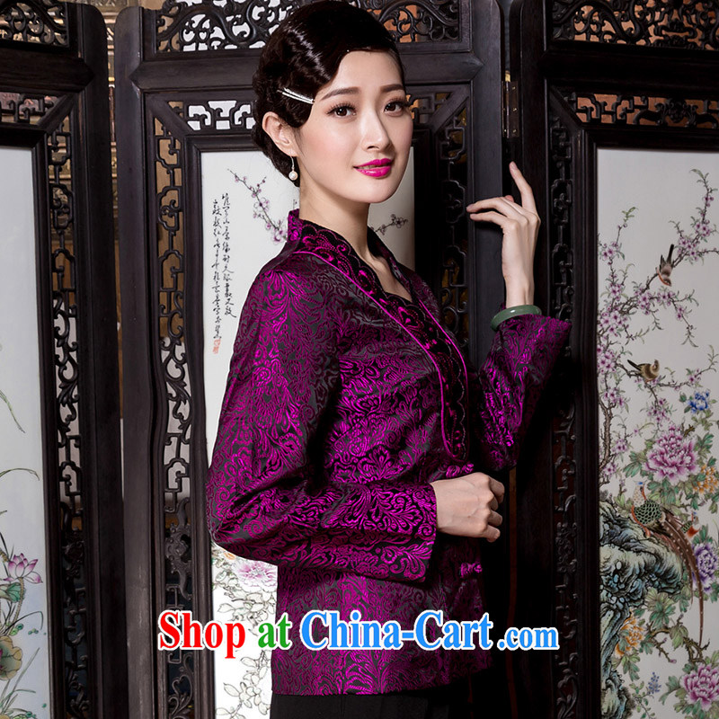 Yin Yue seal 2015 Winter National wind Chinese T-shirt middle-aged mother with Han-jacket wedding, T-shirt purple XXXL