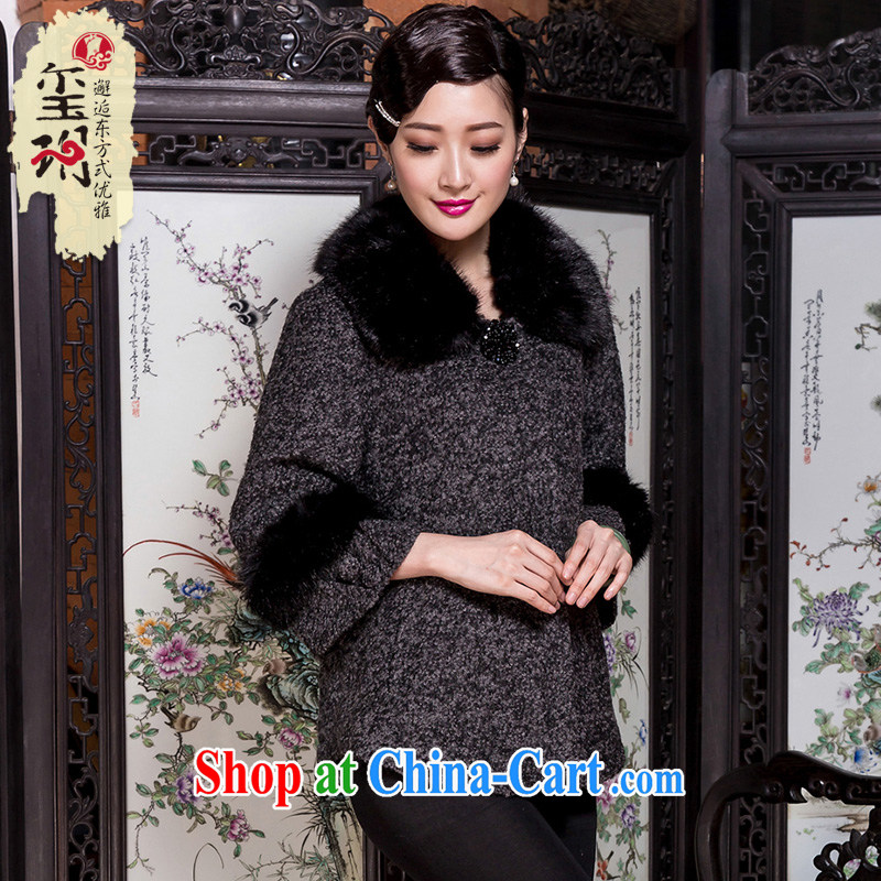 Yin Yue seal 2015 winter rough tweed hair? jacket retro loose the code so gross middle-aged mother coat picture color L