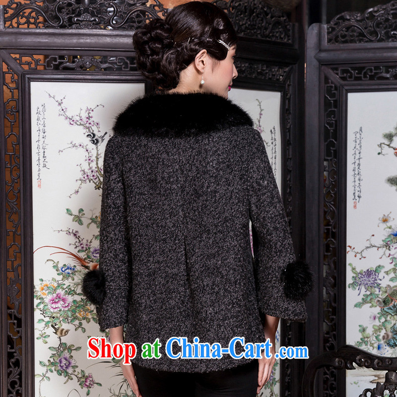 Royal Seal Yin Yue 2015 winter in bold tweed wool jacket is retro loose the code so gross middle-aged mother coat picture color L seal, Yin Yue, shopping on the Internet