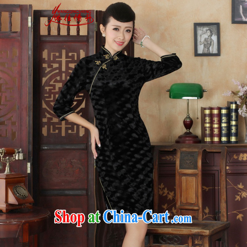 In accordance with the situation in spring and autumn, new Ethnic Wind women dresses, wool beauty 7 cuffs female cheongsam dress - A black 3 XL