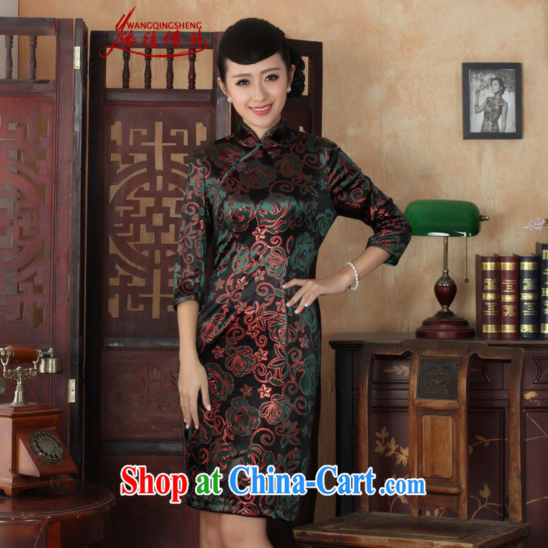 In accordance with the situation in autumn new female dresses Ethnic Wind the wool beauty 7 sub-cuff cheongsam dress as figure 3 XL