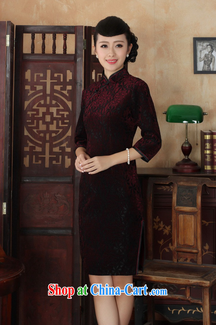 In accordance with the situation in autumn new female dresses Ethnic Wind lace gold velour cultivating 7 cuff cheongsam dress in figure 3 XL pictures, price, brand platters! Elections are good character, the national distribution, so why buy now enjoy more preferential! Health