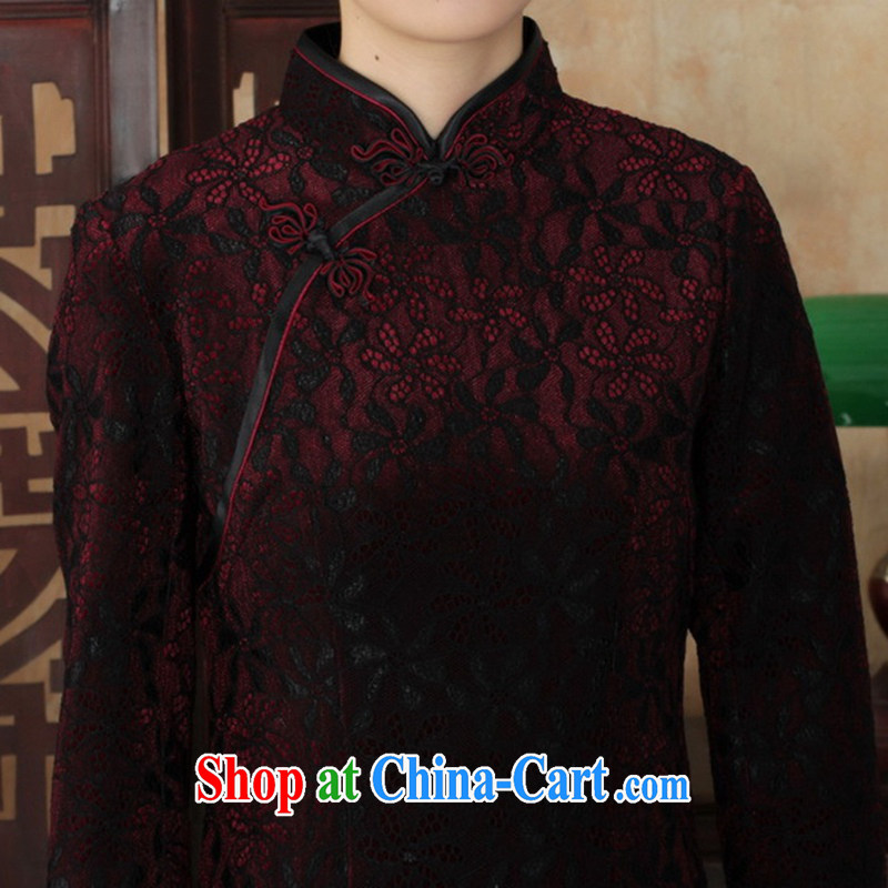 In accordance with the situation in autumn new female dresses Ethnic Wind lace gold velour cultivating 7 sub-cuff cheongsam dress such as figure 3 XL, in accordance with the situation, and, on-line shopping