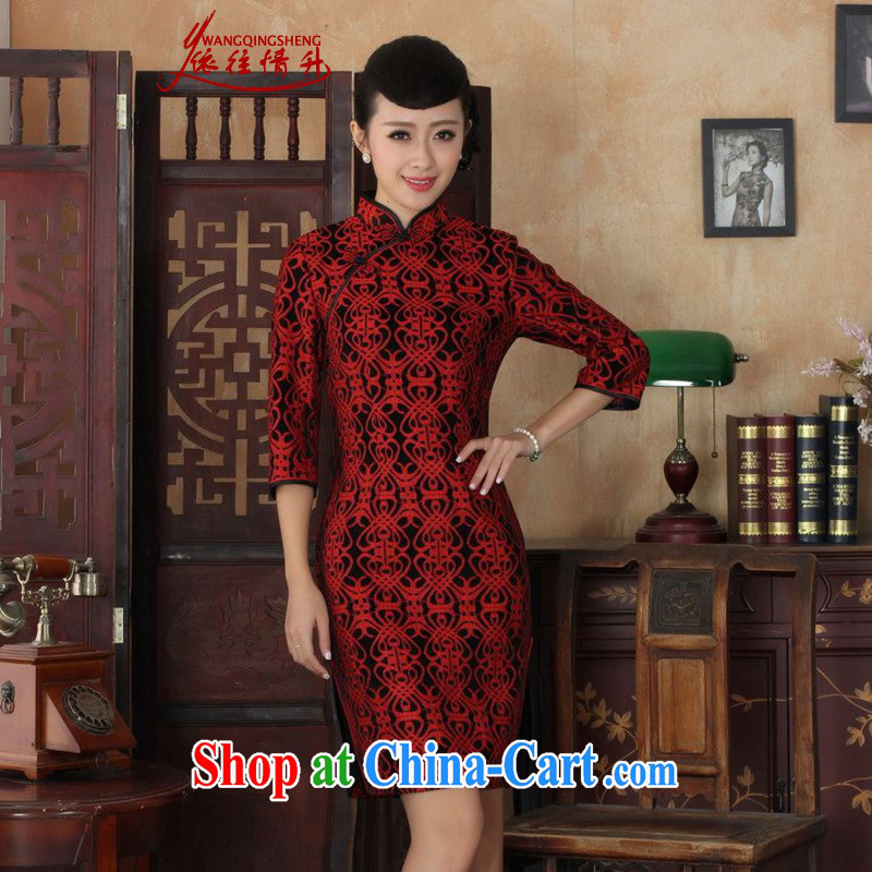 In accordance with the situation in autumn new female dresses Ethnic Wind lace gold velour 7 beauty cuff cheongsam dress _figure 3XL