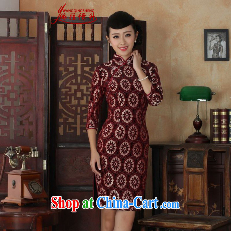 In accordance with the situation in autumn new female dresses Ethnic Wind lace gold velour cultivating 7 cuff cheongsam dress in figure 3 XL