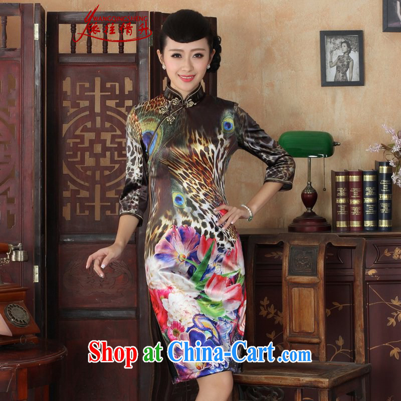 In accordance with the situation in Spring and Autumn new female dresses Ethnic Wind the wool poster beauty 7 cuff cheongsam dress such as figure 2 XL