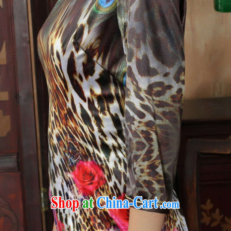 In accordance with the situation in spring and autumn, the female dresses Ethnic Wind the wool poster beauty 7 sub-cuff cheongsam dress shown in Figure 2 XL, in accordance with the situation, and, on-line shopping