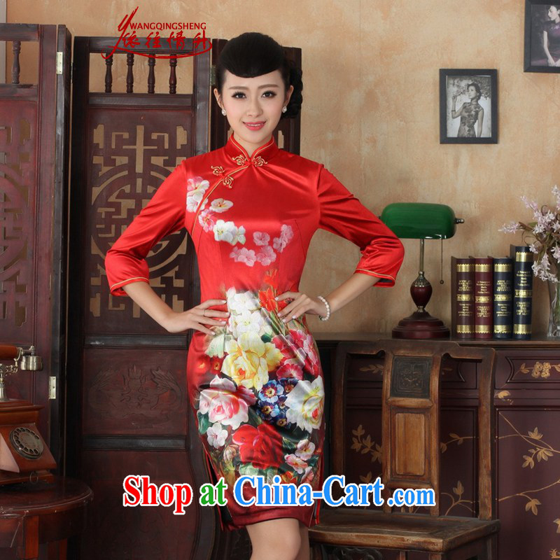 In accordance with the conditions in Spring and Autumn and new female dresses Ethnic Wind the wool poster beauty 7 cuff cheongsam dress shown in Figure 3 XL