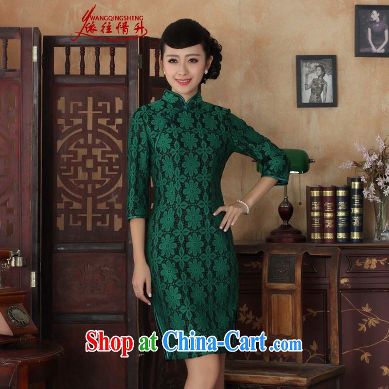 In accordance with the conditions and in winter and spring and new female dresses Ethnic Wind lace + wool beauty flag 7 sub-sleeved gown skirt picture color 3XL