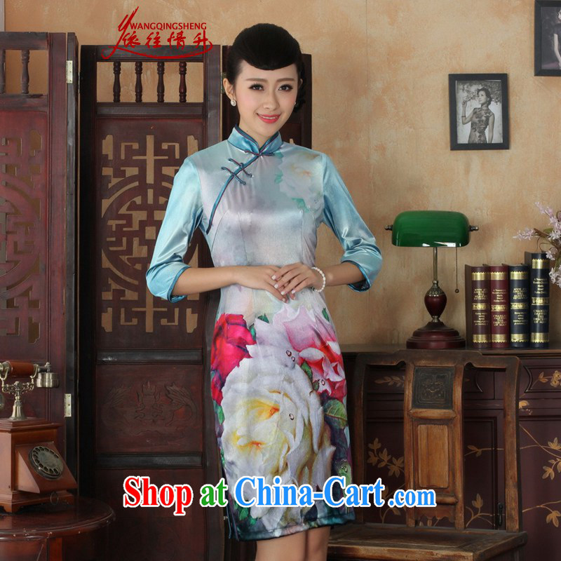In accordance with the situation in autumn and winter, the female Ethnic Wind poster Kim wool beauty 7 sub-cuff cheongsam dress in figure 2 XL
