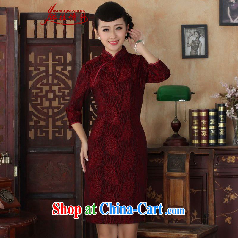 In accordance with the conditions and rising Ethnic Wind autumn new dress robes, for a tight lace + gold velour cultivating 7 sub-cuff cheongsam dress in figure 2 XL