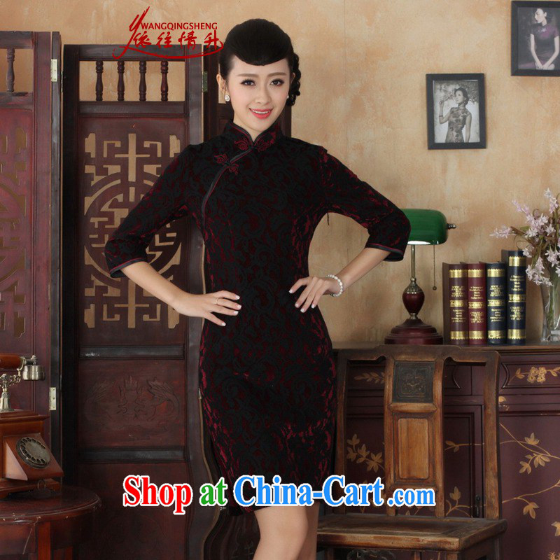 In accordance with the situation in Spring and Autumn new Ethnic Wind women cheongsam lace gold velour cultivating 7 sub-cuff cheongsam dress in figure 3 XL