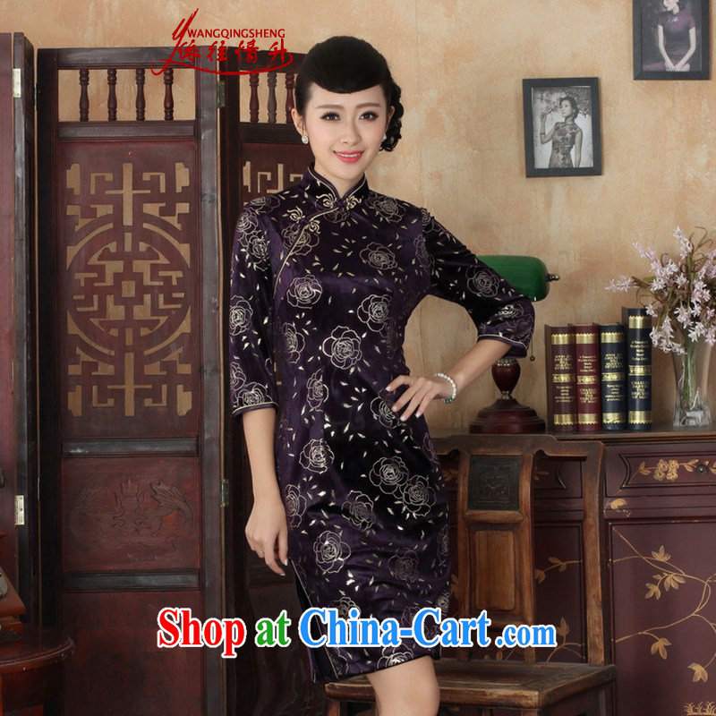 In accordance with the situation in Spring and Autumn new Ethnic Wind women dresses, wool beauty 7 sub-cuff cheongsam dress shown in Figure 3 XL