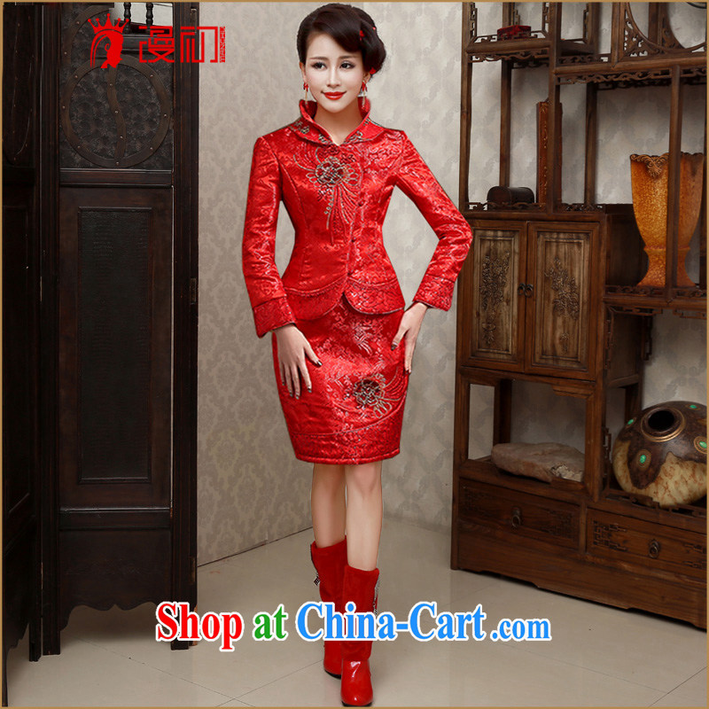 Early spread new 2015 bridal dresses retro beauty toast winter cheongsam dress thick graphics thin winter dresses, winter warm dresses embroidery upgrade XXL