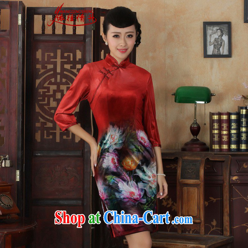 In accordance with the situation in spring and autumn, new Ethnic Wind women dresses, velvet poster 7 sub-cuff Sau San cheongsam dress as figure 2 XL
