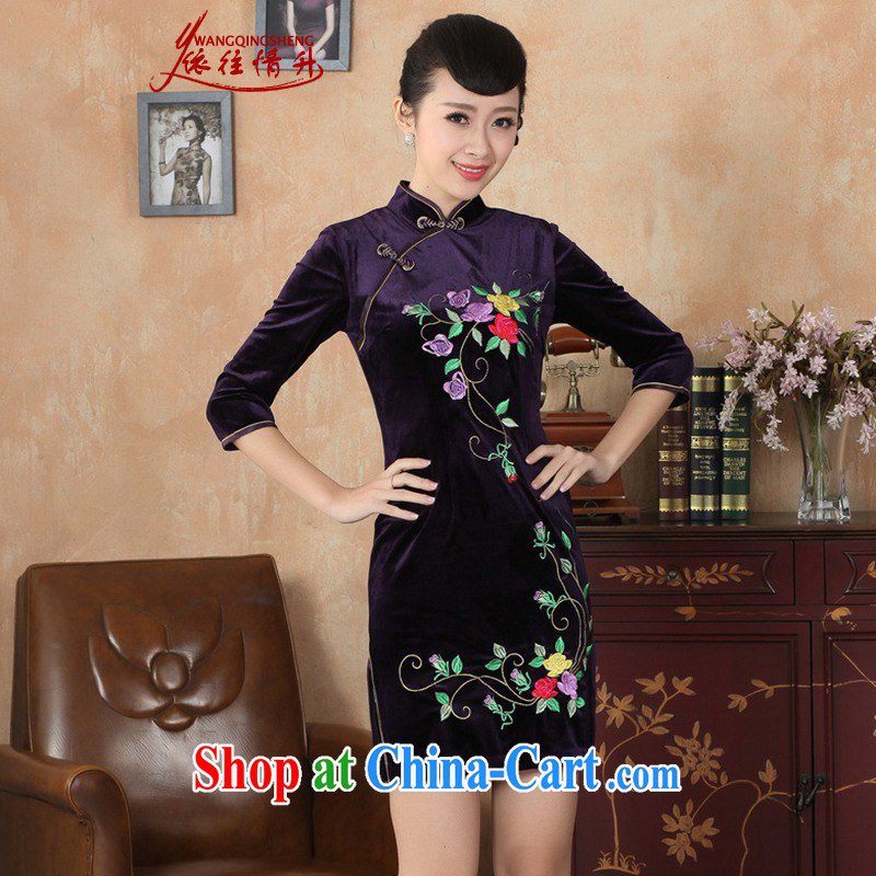 In accordance with the situation in Spring and Autumn NEW Improved Female dresses stretch the silk embroidered beauty in short sleeves cheongsam dress - Purple B XL 2