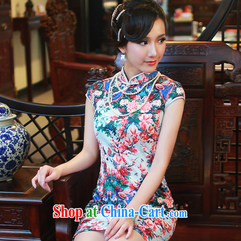Autumn 2014 new Ms., qipao dress improved daily aura Beauty Fashion cheongsam dress 4507 light blue bottom XXL