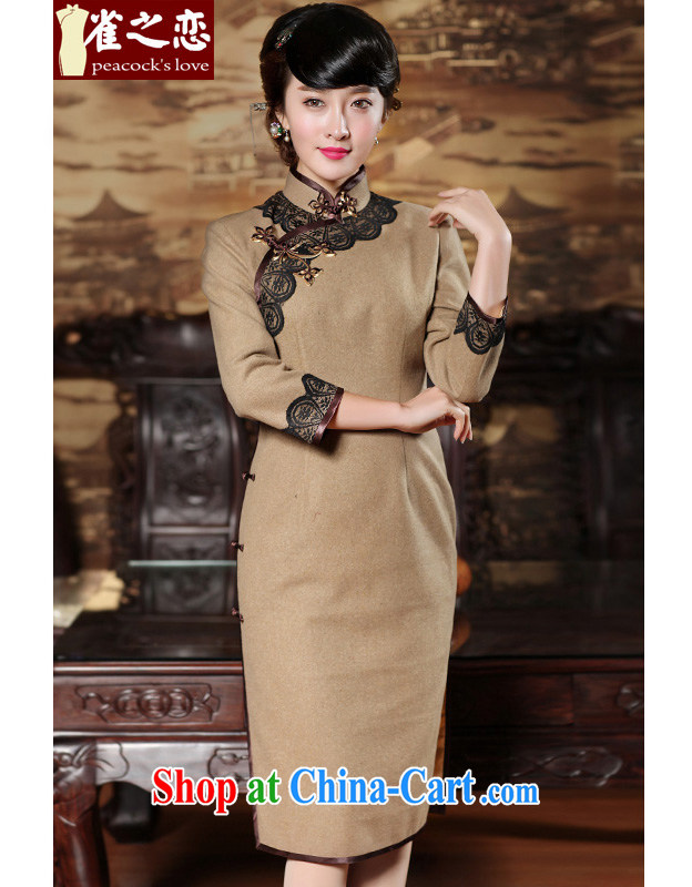 Bird lovers of the time axis, spring 2015, winter clothes lace tile Daily Beauty long-sleeved wool dresses that skirt card its color XXL