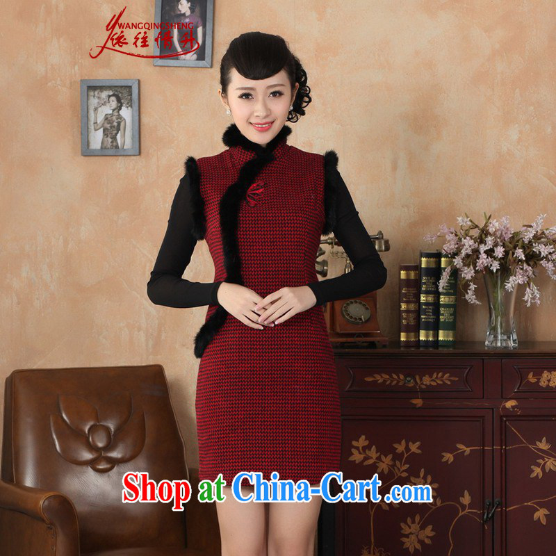 In accordance with the conditions and in autumn and winter clothes new Chinese qipao retro improved grid wool? rabbit hair for female cheongsam dress red 2 XL