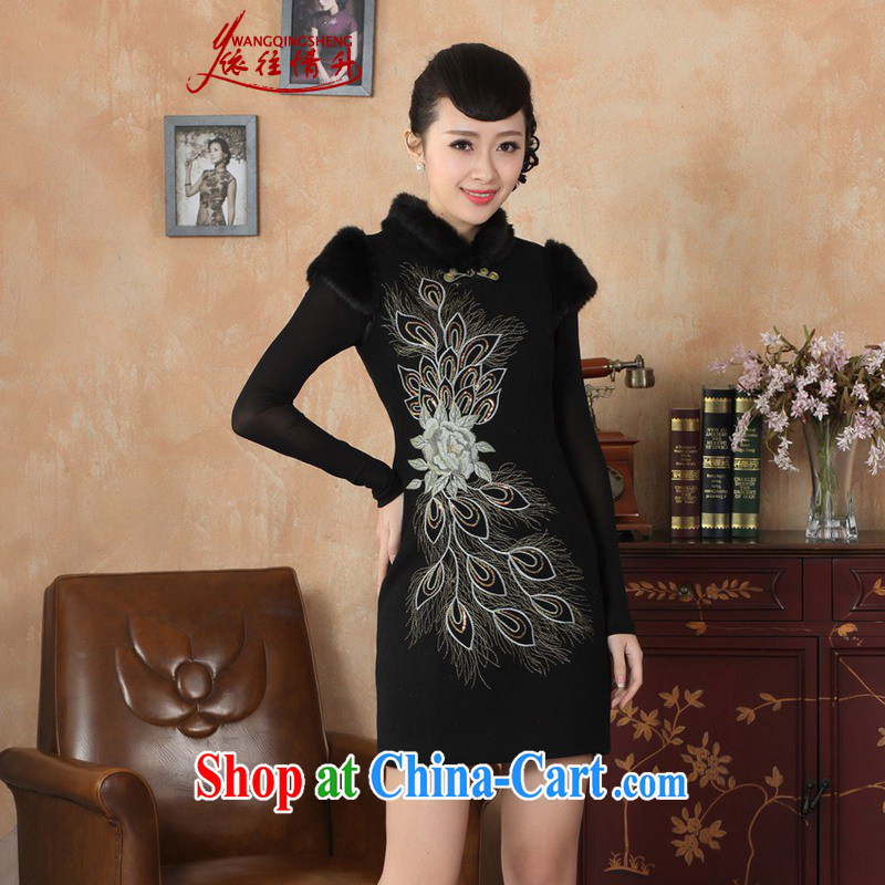 In accordance with the conditions and in winter new improved Tang replace traditional costumes, brought suit sleeveless beauty female cheongsam dress - A black 2 XL