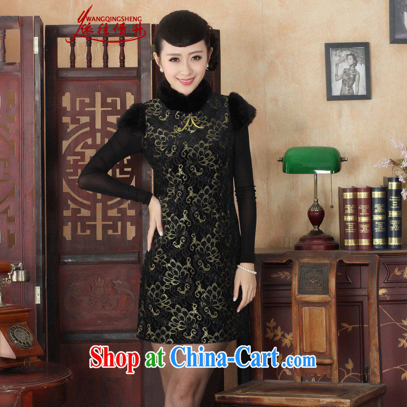 In accordance with the situation in winter new Chinese qipao retro improved lace beauty sleeveless cheongsam dress as figure 2 XL